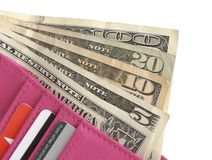 Wallet showing Big Bills. Hot Pink Leather Wallet Holding Cash and Credit Cards Stock Photo