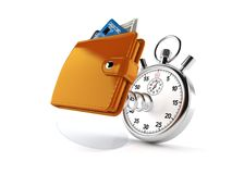 Wallet with stopwatch. On white background royalty free illustration