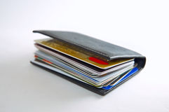 Wallet Stuffed with Credit Cards Stock Photo