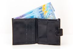 Wallet with Swiss francs Stock Photo