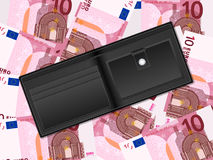 Wallet on ten euro background Royalty Free Stock Photos