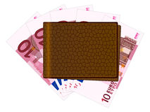 Wallet with ten euro banknotes Royalty Free Stock Images