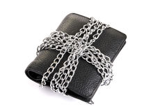 Wallet tied with chain. On white background Royalty Free Stock Photo