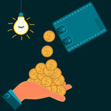 From Wallet to cash pouring Golden dollar coins in hand. In a dark room with light bulb. Illegal income, wages stock illustration