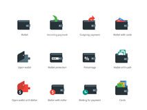Wallet and transaction color icons on white Royalty Free Stock Photography