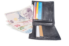 Wallet with turkish lira Stock Images