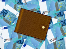 Wallet on twenty euro background Royalty Free Stock Images