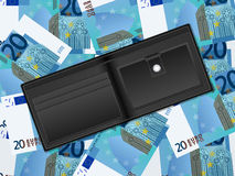 Wallet on twenty euro background Royalty Free Stock Image
