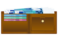 Wallet with twenty euro banknote Stock Images
