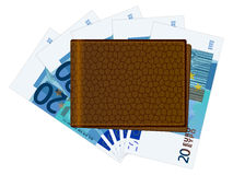 Wallet with twenty euro banknotes Royalty Free Stock Image