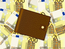 Wallet on two hundred euro background. Wallet on a two hundred euro banknotes background Royalty Free Stock Photos
