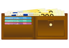 Wallet with two hundred euro banknote. Open wallet with euro banknotes and credit cards Stock Photography