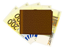 Wallet with two hundred euro banknotes. Wallet with euro banknotes on a white background Stock Image