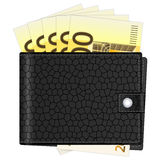 Wallet with two hundred euro banknotes. Wallet with euro banknotes on a white background Royalty Free Stock Photo