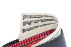 Wallet with 100 U.S. dollars bills. Close-up. Isolated over white background Royalty Free Stock Image