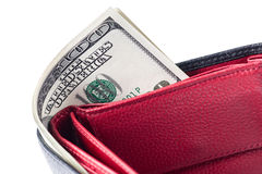Wallet with 100 U.S. dollars bills. Close-up. Isolated over white background Royalty Free Stock Photo