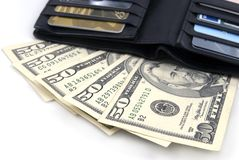 Wallet with US Dollars Royalty Free Stock Images
