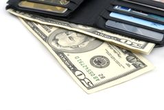 Wallet with US Dollars Stock Photo