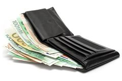 Wallet w/ Banknotes Royalty Free Stock Images