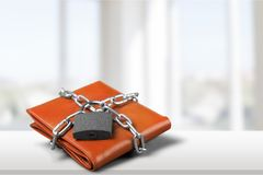 Wallet. Lock protection chain strength security savings Royalty Free Stock Image