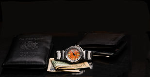Wallet and Watch Royalty Free Stock Photo