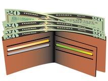 Wallet With Dollar Bills Stock Photos