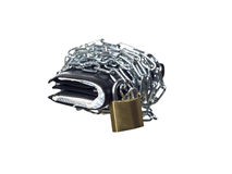 Wallet wrapped in chains Royalty Free Stock Photos