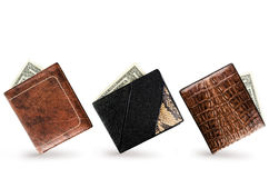Wallets. Three Wallets With One Dollar Banknote In Each Royalty Free Stock Photo