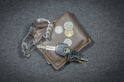Wallets and car key of wristwatch  coin money Stock Image