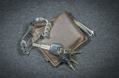 Wallets and car key of wristwatch have clippers Stock Photo