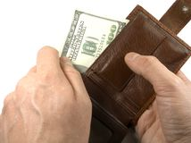 Wallets with dollars Stock Photos