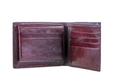Wallets made of genuine leather brown color Stock Photos