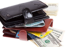 Wallets with Money Stock Photography