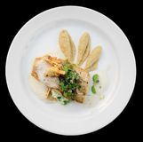 Walleye fillet with artichokes and molecular broth stock image