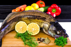 Walleye fish with vegetables Royalty Free Stock Photography