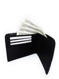 Walllet negro con el paquete de dólares Imágenes de archivo libres de regalías