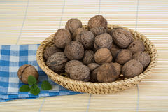 Wallnut in the basket Stock Photos