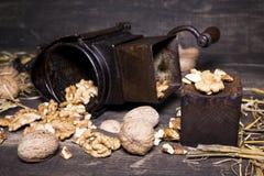 Wallnuts和手核桃研磨机 免版税库存照片