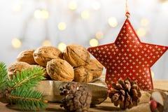 Wallnuts with Christmas star Royalty Free Stock Photo