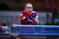 WALLOE Sophie from Danemark backhand. 2017 European Championships - First Round. Luxembourg Stock Images
