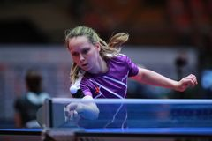 WALLOE Sophie from Danemark forehand. 2017 European Championships - First Round. Luxembourg Stock Photos