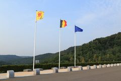 Flags. Wallonia, Belgium and europe flags all together and aligned. nobody Royalty Free Stock Images