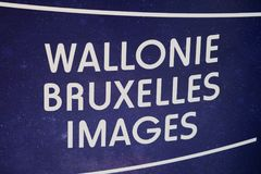 Wallonie Bruxelles Images logo. Berlin, Germany - February 22, 2018: Wallonie Bruxelles Images at EFM European Film Market. Created in 1984, WBImages is the stock photo