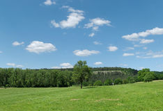 Walloon, Belgium. Landscape of Walloon, Belgium - green hills and forest in clear summer day Stock Photography