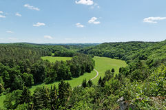 Walloon landscape. Landscape of Walloon, Belgium - green hills and forest in valley Royalty Free Stock Photos