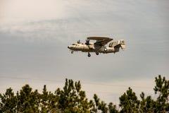 Wallops Island, Virginia - March 28, 2018: Navy Hawkeye Airplane at NASA Wallops center royalty free stock photo