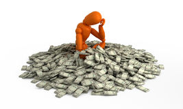 Wallow in money. Orange mannequin in heap of money royalty free illustration