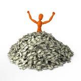Wallow in money. Orange mannequin in heap of money Royalty Free Stock Image