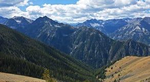 Wallowa Mountain peaks, Oregon. Panoramic view of high peaks in the Wallowa Mountains above the town of Joseph in remote, northeast Oregon Stock Image