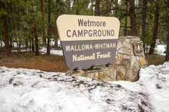 Wallowa Whitman National Forest Wetmore Campground Sign Oregon U Royalty Free Stock Images